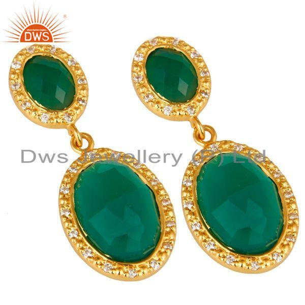 Exporter Shiny 18K Yellow Gold Plated Sterling Silver Green Onyx Drop Earrings With CZ