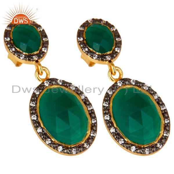 Exporter 18K Yellow Gold Plated Sterling Silver Green Onyx And CZ Double Dangle Earrings