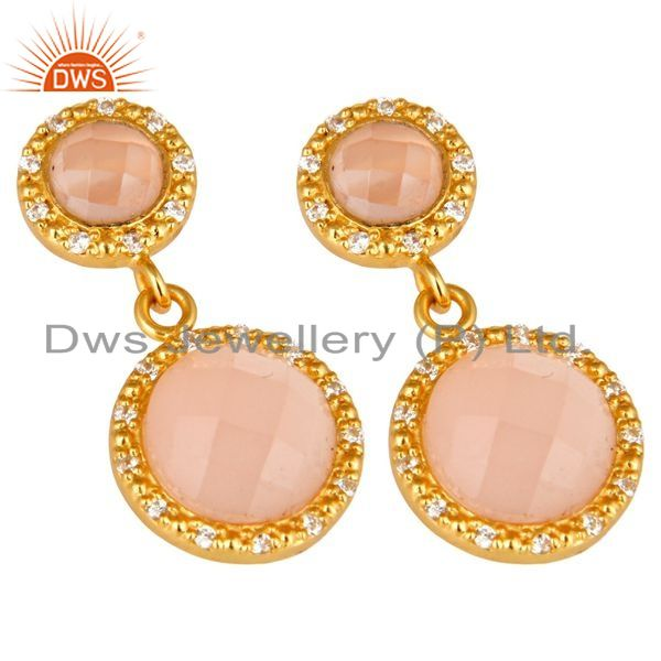 Exporter Shiny 18K Yellow Gold Plated Sterling Silver CZ And Rose Chalcedony Drop Earring