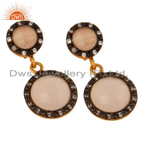 Exporter 925 Sterling Silver Rose Chalcedony Gemstone Designer Earrings With CZ