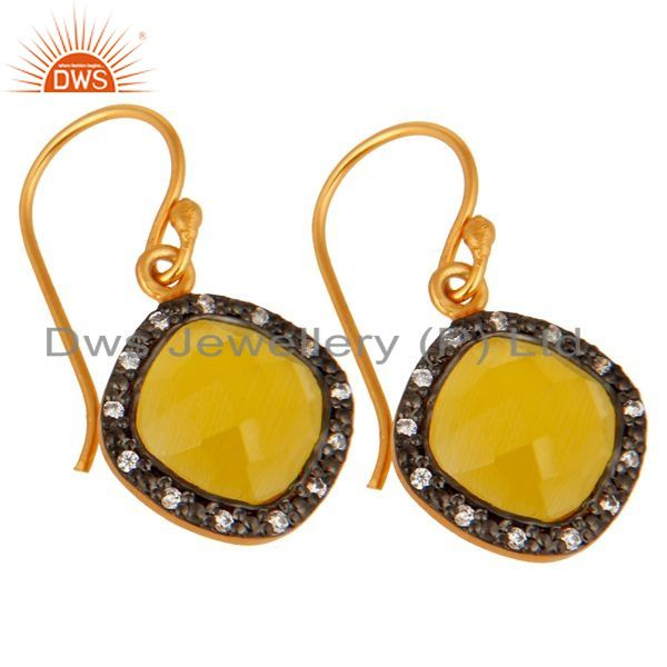 Exporter 925 Sterling Silver With 18k Gold Plating Moonstone Cushion Shape Dangle Earring