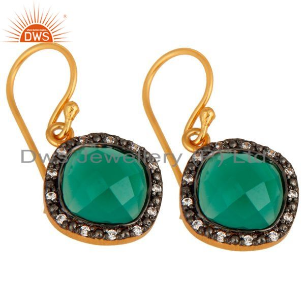 Exporter 24K Gold Plated Over 925 Sterling Silver Green Onyx Gemstone Earring With CZ