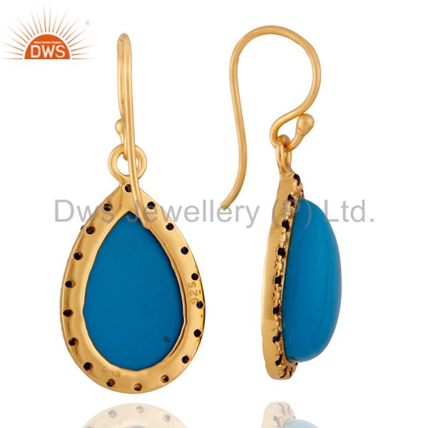 Exporter Blue sapphire Gemstone 18k Gold Plated Turquoise Sterling SIlver Earring