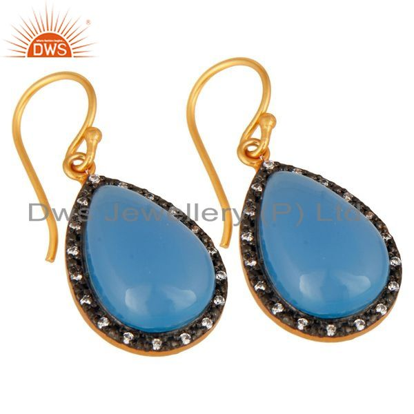 Exporter 925 Sterling Silver Natural Blue Chalcedony Cabochon Gemstone Earrings With CZ