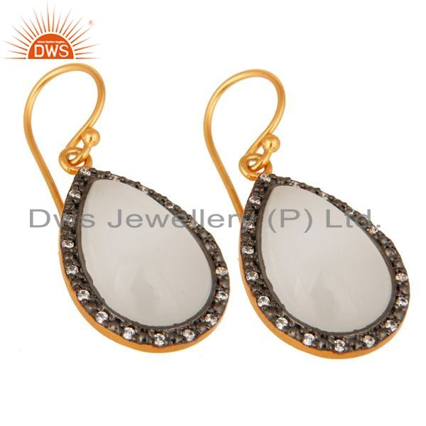 Exporter 18K Yellow Gold Plated Sterling Silver White Moonstone & Cubic Zirconia Earrings