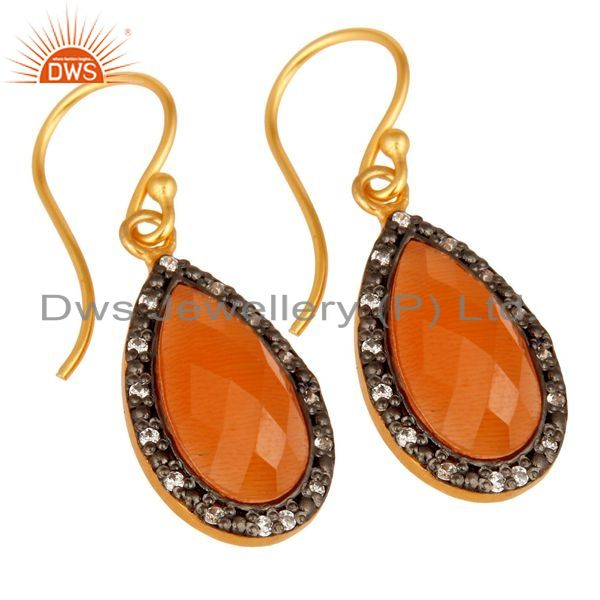 Exporter Faceted Peach Moonstone Teardrop Earrings With CZ In 18K Gold On Sterling Silver