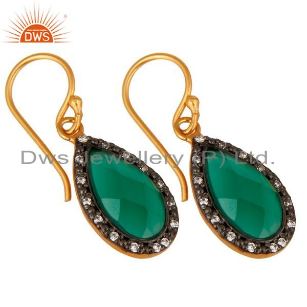 Exporter 18K Gold Plated 925 Sterling Silver Green Onyx Gemstone Drop Earring With CZ