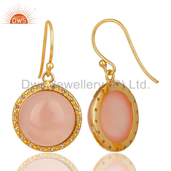 Exporter 18K Gold Plated 925 Sterling Silver Dyed Chalcedony & White Topaz Drops Earring
