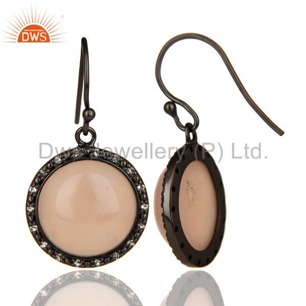 Exporter Black Oxidized 925 Sterling Silver Dyed Chalcedony & White Topaz Drops Earrings