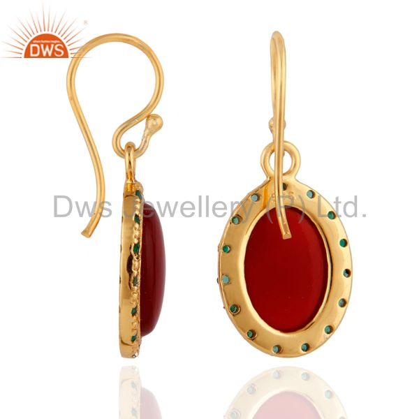 Exporter 925 Sterling Silver Red Onyx 18K Gold Plated Emerald Gemstone Dangle Earrings