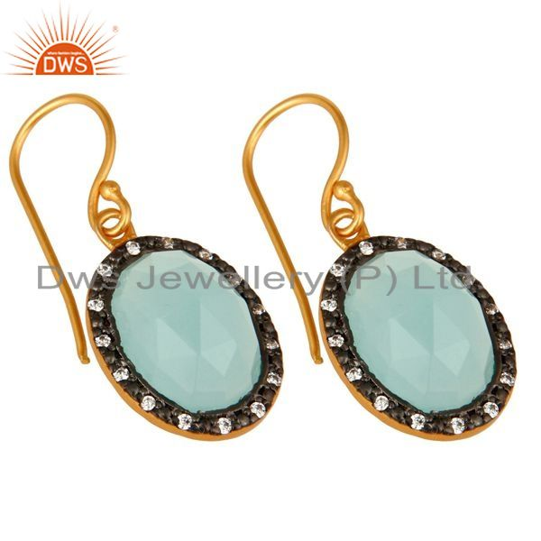 Exporter 18K Gold Plated Sterling Silver Aqua Chalcedony Dangle CZ Earrings