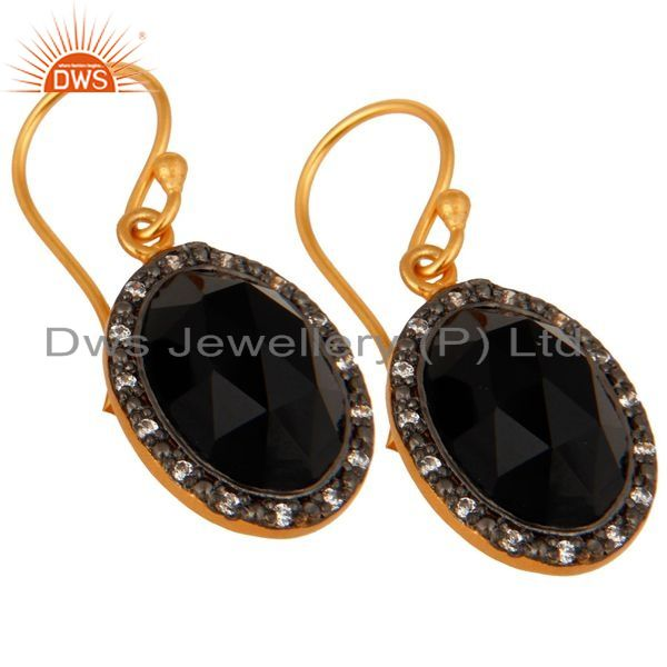 Exporter Gold Plated Sterling Silver Faceted Black Onyx Gemstone Bezel Set Dangle Earring