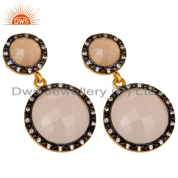 Exporter 18K Gold Plated Sterling Silver Rose Chalcedony Double Drop Earrings With CZ
