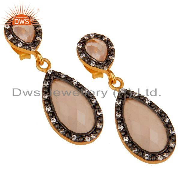 Exporter Rose Chalcedony 18K Gold Plated Sterling Silver Drop Earrings With White Zircon