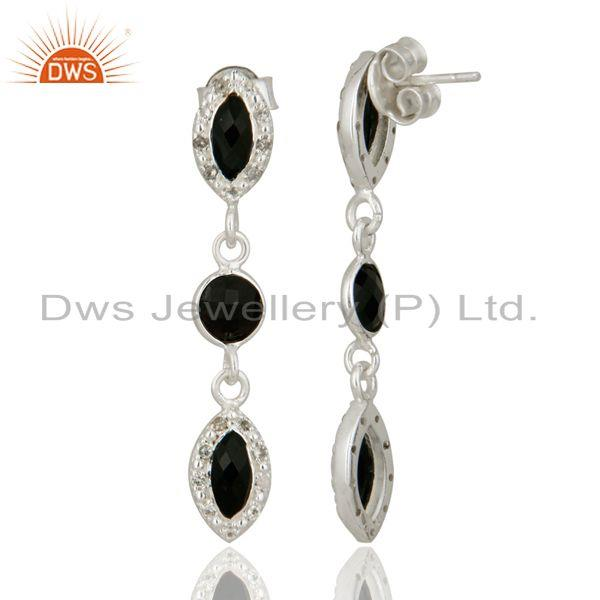 Suppliers Indian Handmade 925 Sterling Silver Black Onyx and White Topaz Designer Earrings