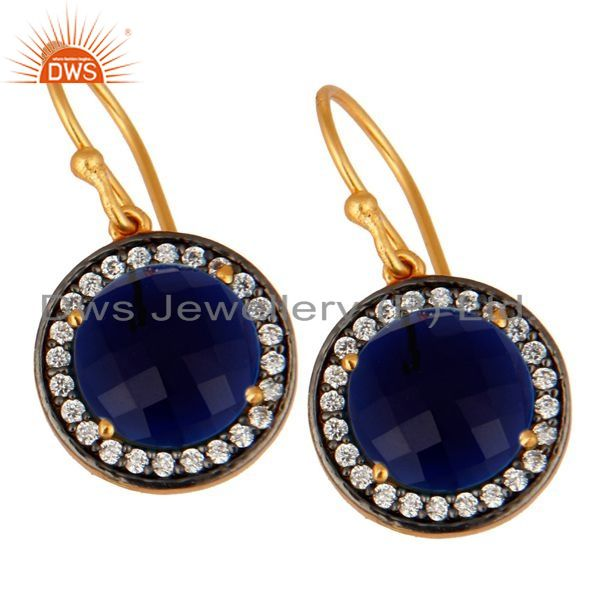 Exporter Blue Corundum And White Zircon Earrings In 18K Gold Over Sterling Silver Jewelry