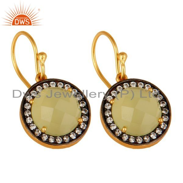 Exporter Green Chalcedony Gemstone Pave CZ Sterling Silver Earrings With Gold Plated