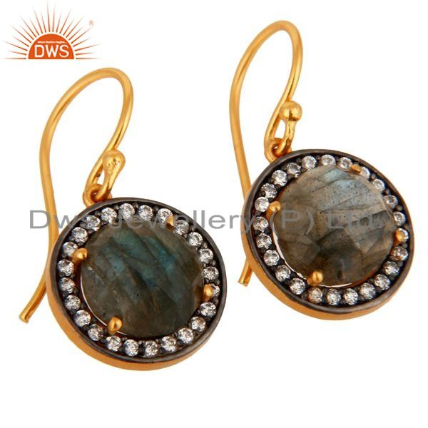 Exporter 18K Gold Plated Sterling Silver Labradorite Gemstone Earring With White Zircon