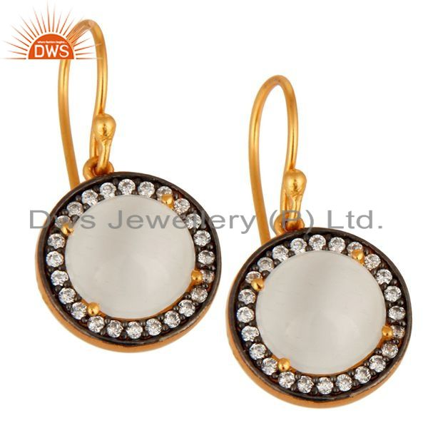 Exporter 18K Yellow Gold Plated 925 Sterling Silver White Moonstone & CZ Hook Earrings