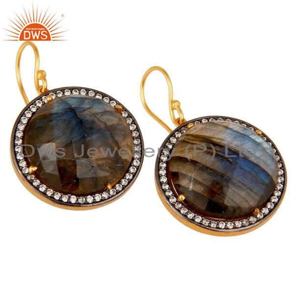 Exporter Labradorite Gemstone Earring With CZ Made In 18K Gold Over Solid 925 Silver