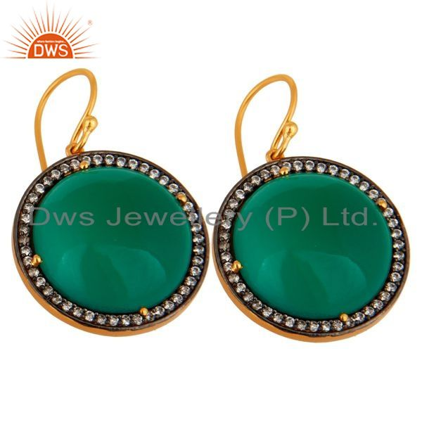 Exporter Designer Green Onyx Gemstone 925 Sterling Silver Hook Earring With Gold Plated