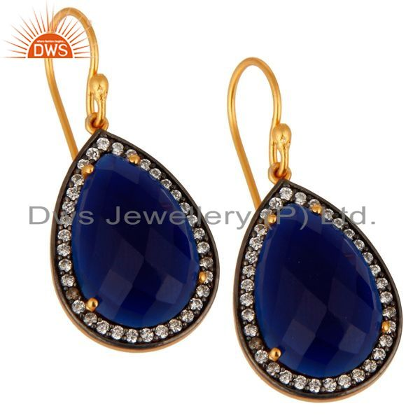 Exporter 18K Gold Over 925 Sterling Silver Blue Sapphire Corundum Gemstone Drop Earrings