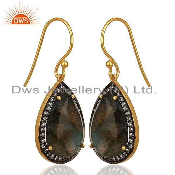 Exporter Gold Plated Sterling SIlver Faceted Labradorite Gemstone Bezel Set Earrings
