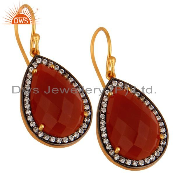 Exporter Red onyx Gemstone Pave Cubic Zirconia 18k Gold Plated Sterling Silver Earrings