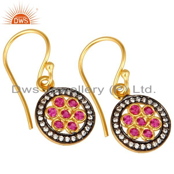 Exporter Shiny 18K Yellow Gold Plated Sterling Silver Red Cubic Zirconia Drop Earrings