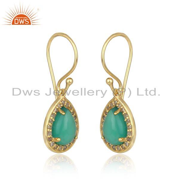 Diamond and green onyx designer dangle in yellow gold on silver