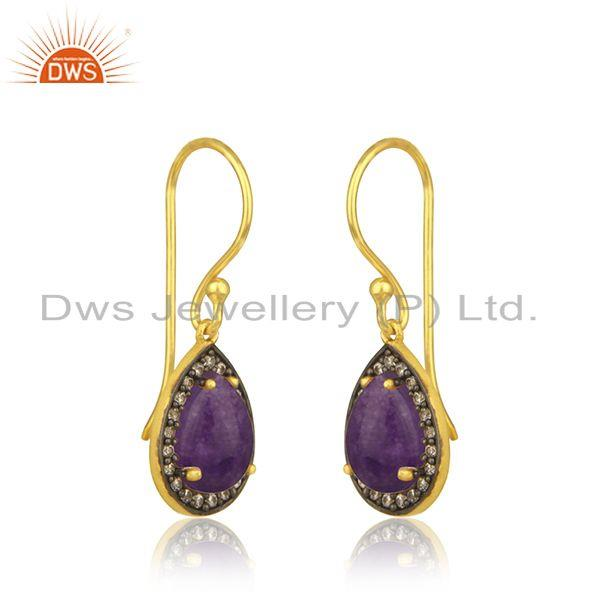 Exporter Aventurine and Cz Gemstone Gold Plated 925 Silver Drop Earrings Manufacturer