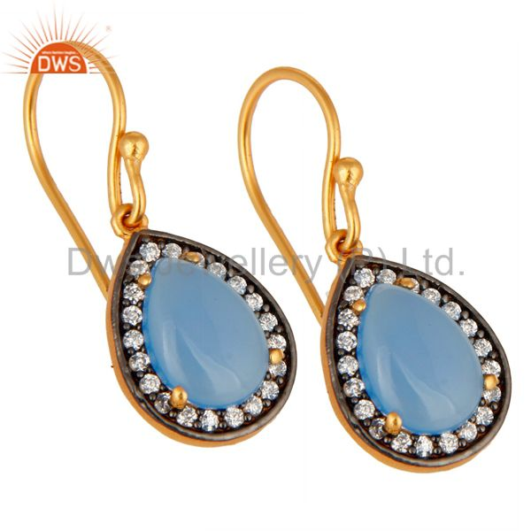 Exporter Blue Aqua Chalcedony Gemstone Earring Made In 24K Gold Plated Sterling Silver