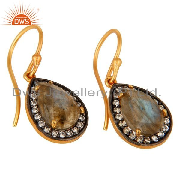Exporter Natural Labradorite Gemstone Sterling Silver With Yellow Gold Plated Earrings