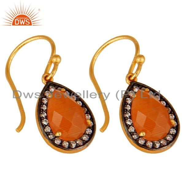 Exporter Peach Moonstone And CZ Sterling Silver Dangle Earrings With Gold Plated
