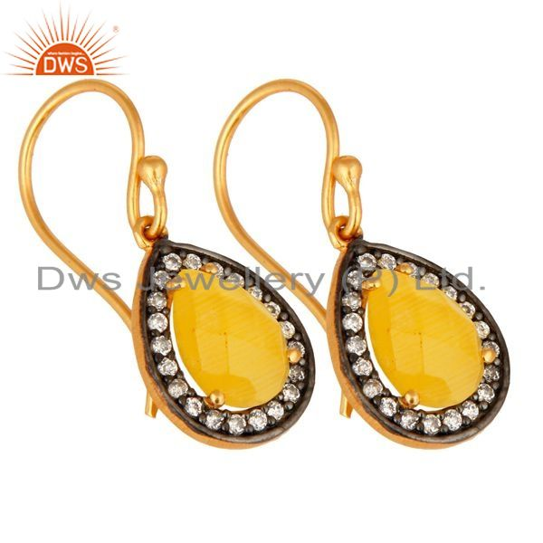 Exporter 18K Gold Plated 925 Sterling Silver Pave CZ & Yellow Moonstone Designer Earrings