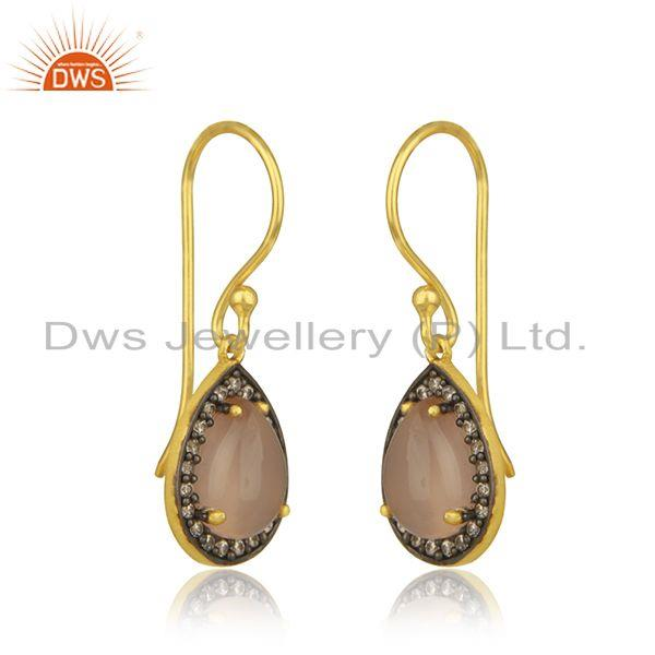 Exporter Rose Chalcedony Gemstone 925 Silver Gold Plated Drop Earring Manufacturer Jaipur