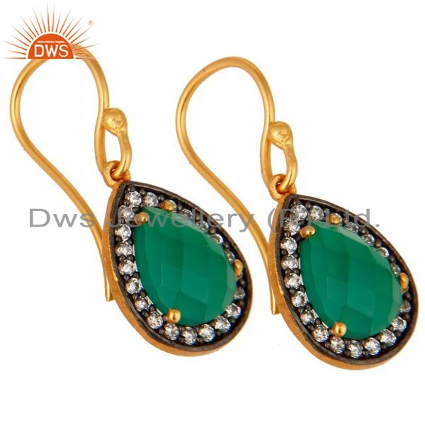 Exporter 925 Sterling Silver 24K Gold Plated Green Onyx Gemstone Drop Earring With CZ