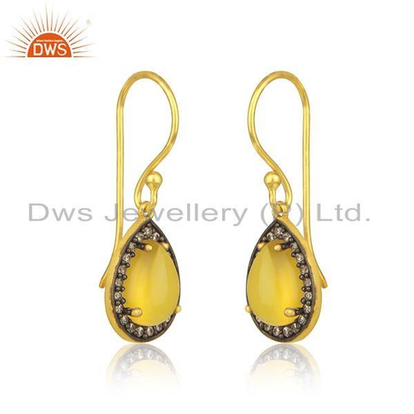 Exporter Yellow Chalceodny Gemstone 925 Silver Gold Plated Drop Earrings Manufacturer