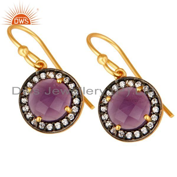 Exporter 18K Yellow Gold Plated Sterling Silver Amethyst And CZ Disc Dangle Earrings