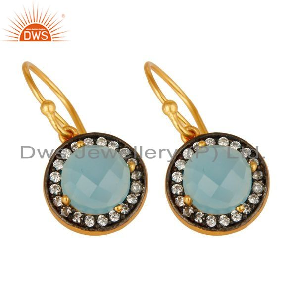 Exporter 18K Yellow Gold Plated Sterling Silver Pave CZ And Aqua Blue Chalcedony Earrings