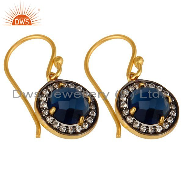 Exporter 14K Yellow Gold Plated Sterling Silver Blue Corundum And CZ Halo Earrings