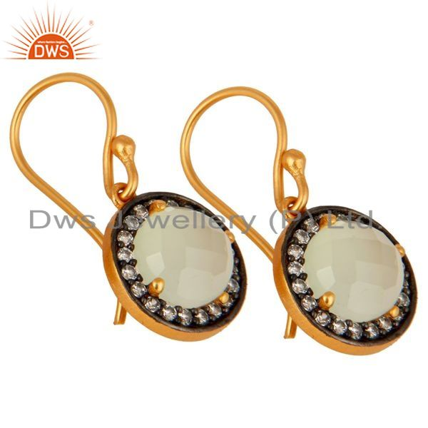 Exporter 925 Sterling Silver Natural Chalcedony Gemstone & CZ Earrings With Gold Plated