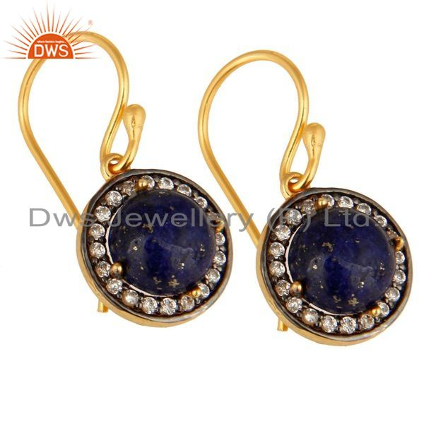 Exporter 18K Yellow Gold Plated Sterling Silver Lapis Lazuli And cz Dangle Earrings