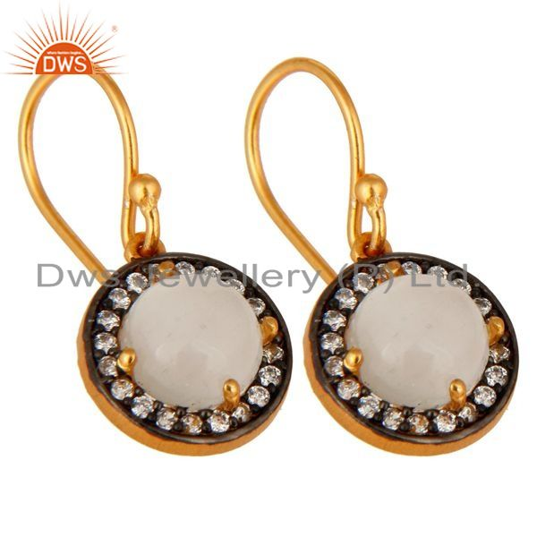 Exporter 14k Gold Plated Sterling Silver White Moonstone Gemstone Prong Earrings With CZ