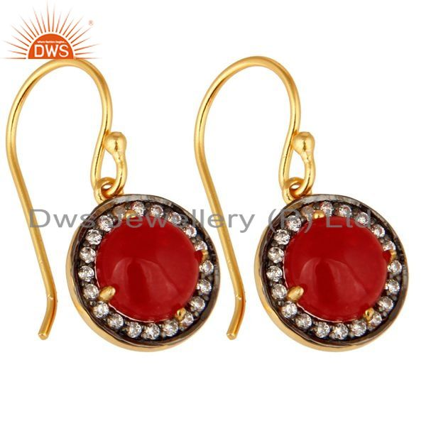 Exporter Red Aventurine Gemstone And CZ Sterling Silver Dangle Earrings With Gold Plated