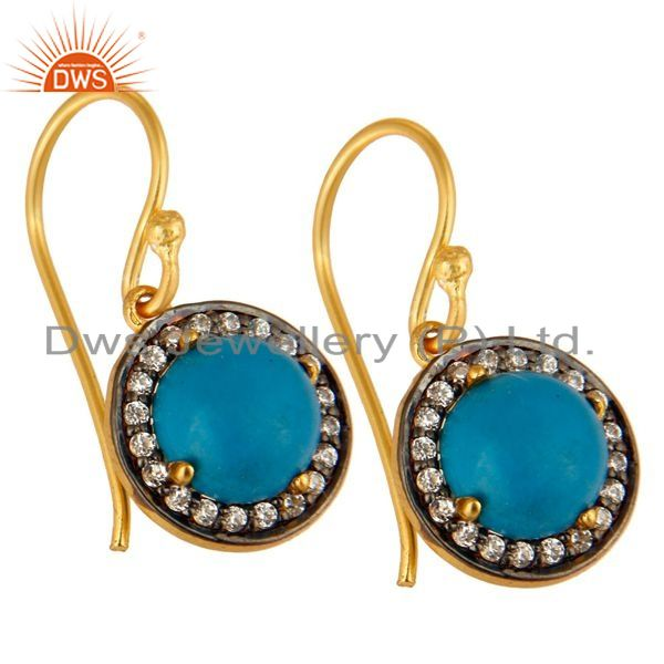 Exporter 18K Yellow Gold Plated Sterling Silver Turquoise And CZ Surrounded Drop Earrings
