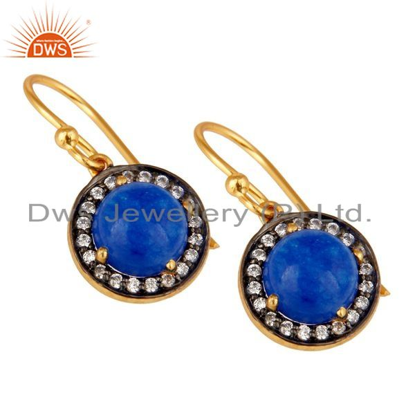 Exporter Yellow Gold Plated Sterling Silver Blue Aventurine CZ Surrounded Drop Earrings