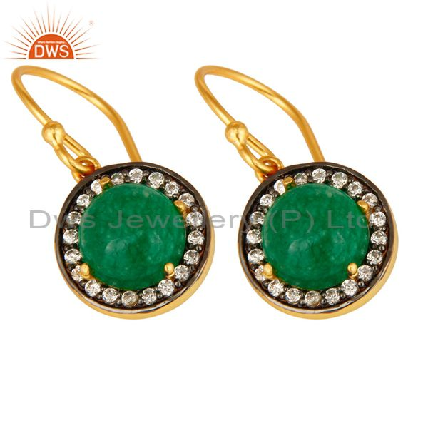 Exporter 18K Gold Plated Sterling Silver Pave CZ And Green Aventurine Dangle Earrings