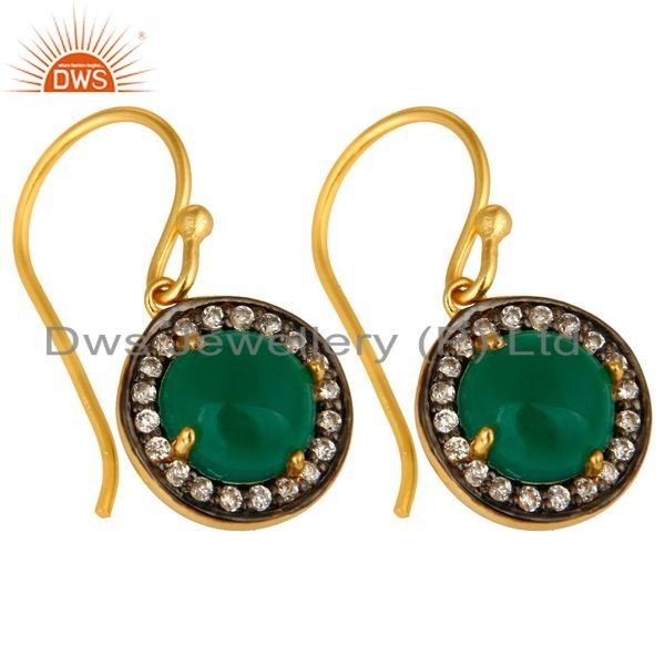 Exporter 18K Yellow Gold Plated Sterling Silver Green Onyx And CZ Halo Dangle Earrings