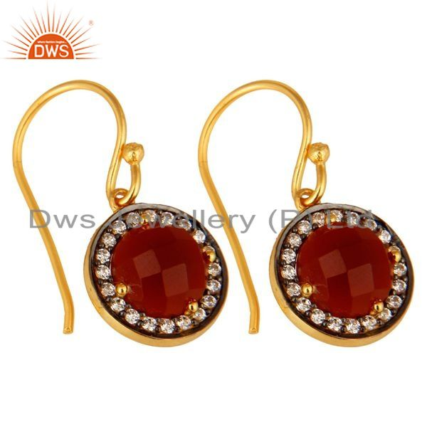 Exporter Round Cut Red Onyx Gemstone 18K Gold Plated Sterling Silver Earrings With CZ